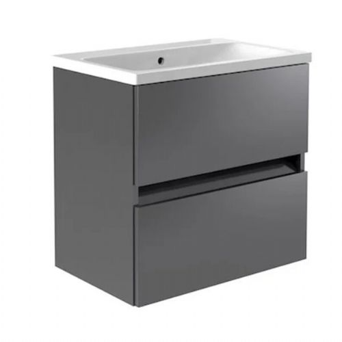 Kartell Ikon 2-Drawer Wall Mounted Vanity Unit With Basin - 600mm - Grey